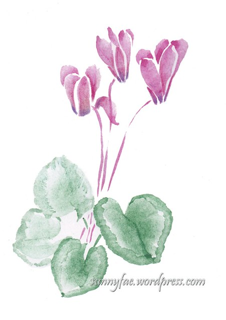 Cyclamen watercolour sketch 1