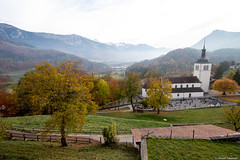 A church and valley