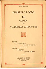 Charles C. Rood's 1st catalog of Numismatic Literature 1930