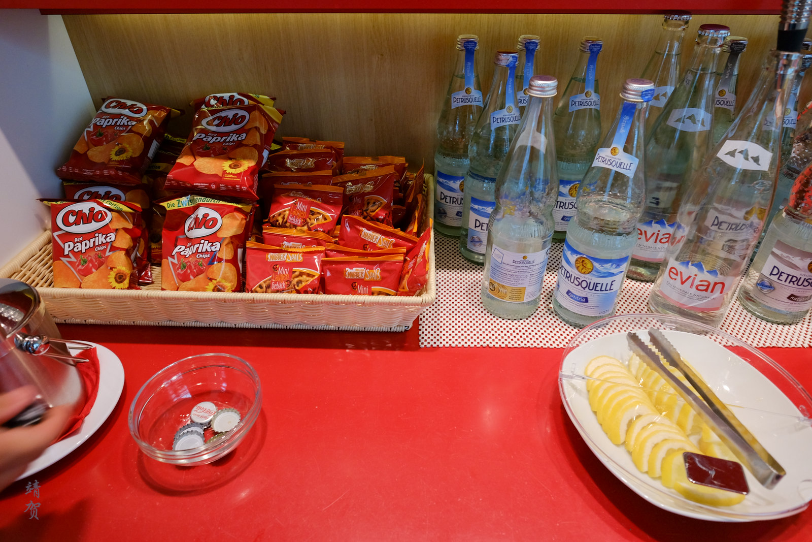 Snacks and bottled water