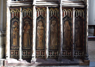 south aisle screen: Baruch, Hosea, Nahum, Jeremiah, Elias, Moses (15th Century)