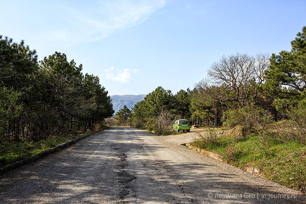дорога к радиотелескопу в поселке Сатера