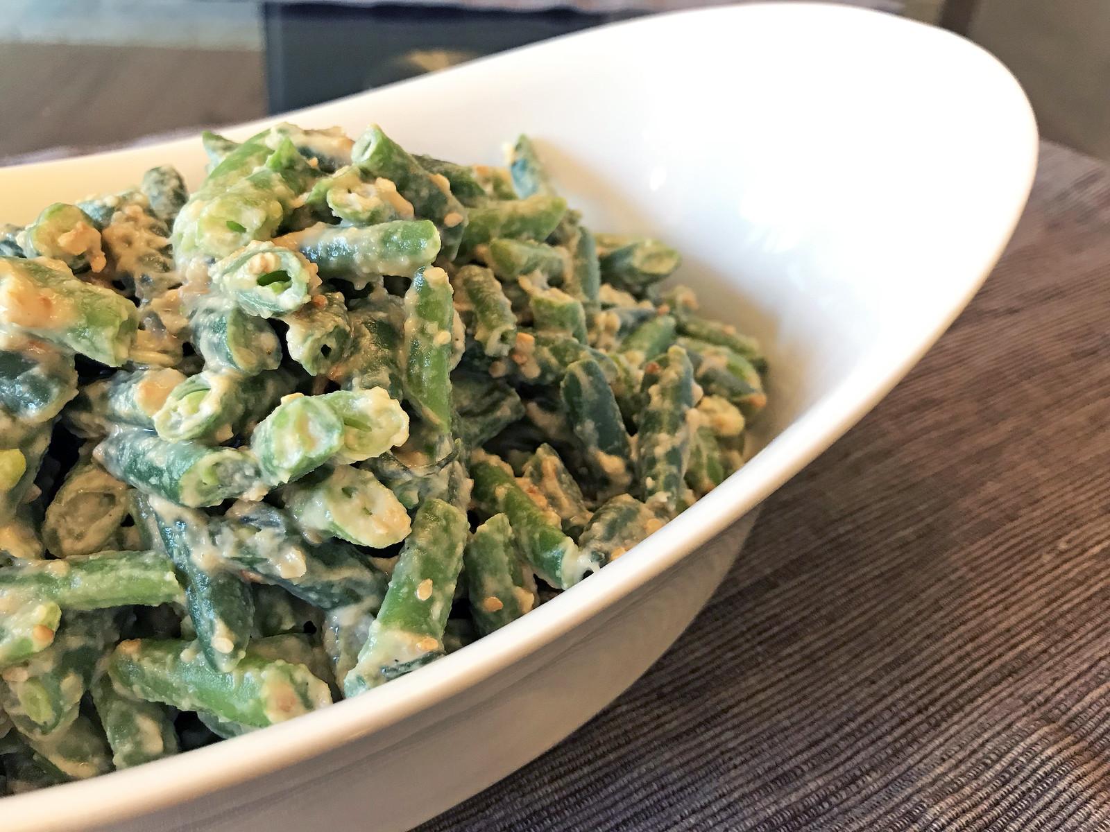 Green beans in sesame-miso sauce