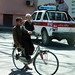 Children ride a bicycle in Jalalabad.