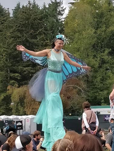 Stilt-walking butterfly lady at Skookum Festival
