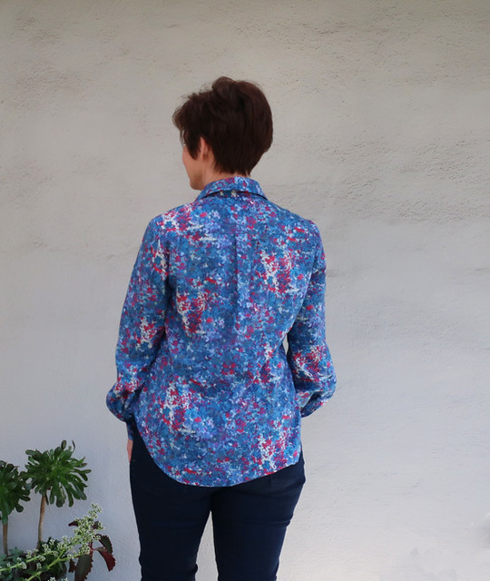 Burda blue shirt back view