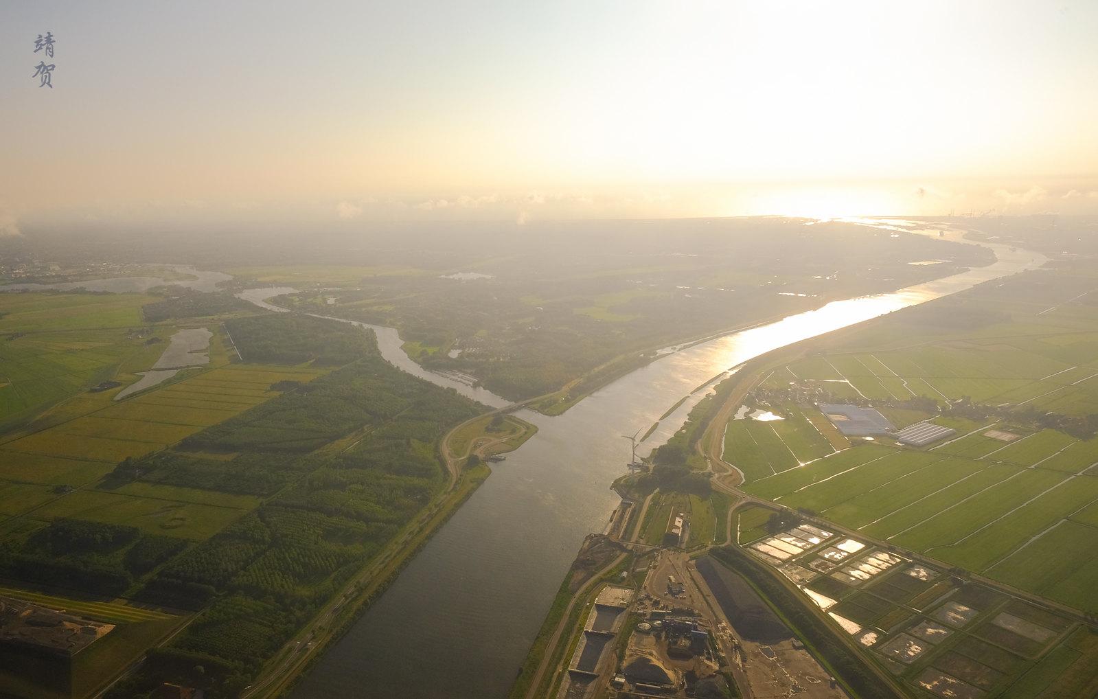 Descent into Amsterdam Schiphol