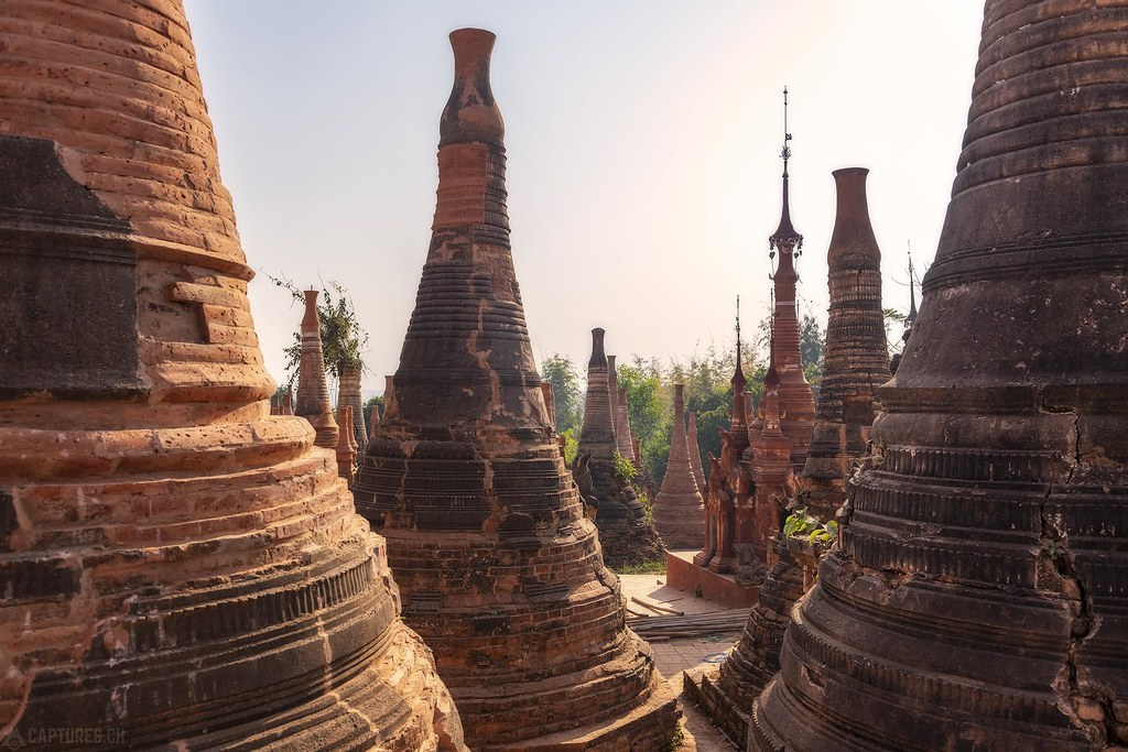 View throught the pagodas - Indein