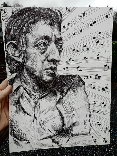 Serge Gainsbourg... Dessin au bic fait en 2002.   Serge Gainsbourg... Original ballpoint pen drawing I made in 2002 (not a print but the original version on paper).   #art #originalart #artwork #drawing #artstudy #sergegainsbourg #chansonfrancaise #gainsb