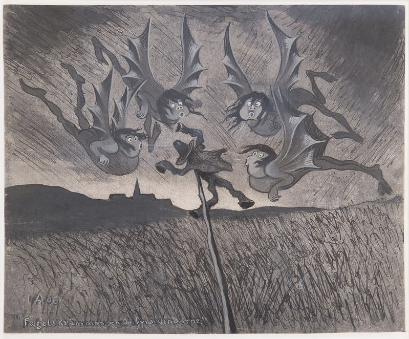 Ivar Arosenius - The scarecrow and the four winds, 1906
