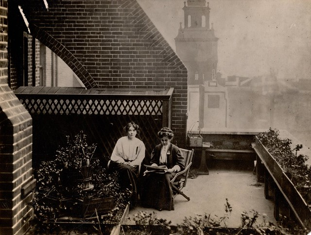Christabel and Emmeline Pankhurst on the roof of Clement's Inn, 13 October 1908. Credit: LSE Library