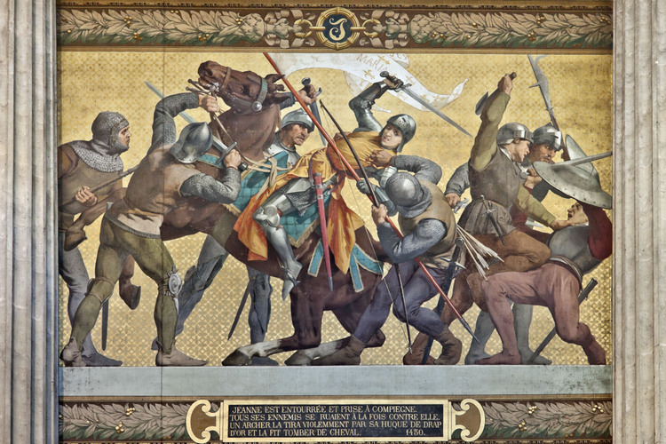 Joan captured by the Burgundians at Compiègne. From mural recounting the life of Joan of Arc at the Pantheon, Paris.