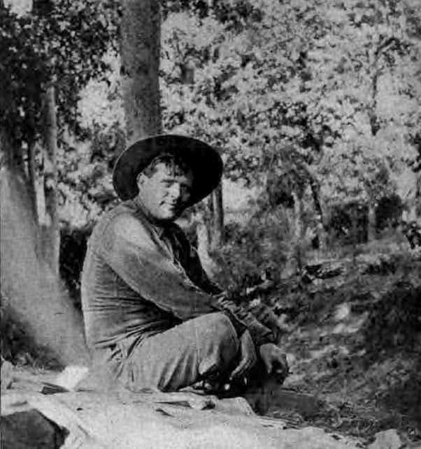 A photograph of Jack London, on his ranch in Sonoma County, California. Published in Sunset magazine, August 1914 issue.
