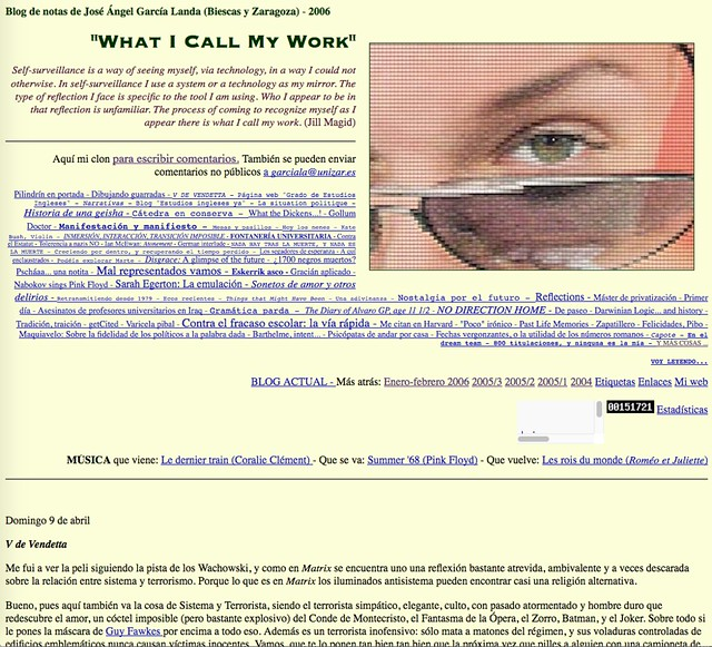"""What I Call My Work"": Blog de notas de marzo-abril de 2006"