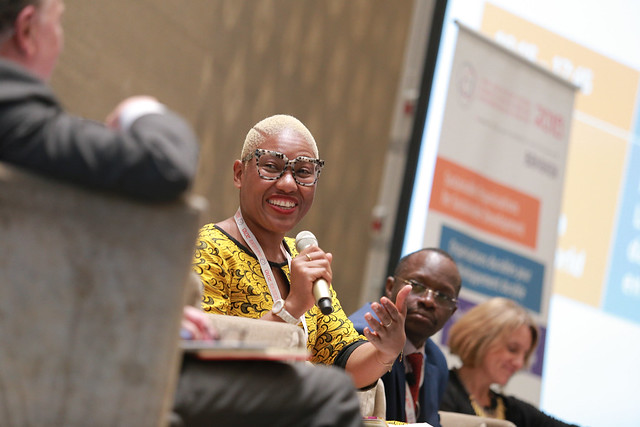Valerie Traore, TTIX Facilitator, moderating the panel Ask Any Questions: Funders in a Changing World