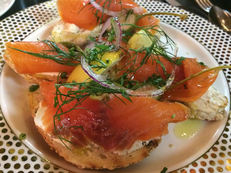 Smoked Salmon and St-Viateur Bagel at Bar George