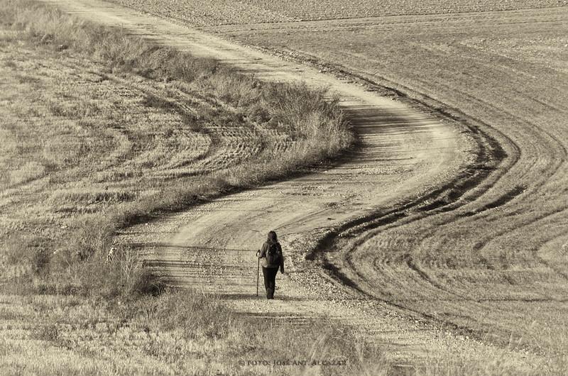 Una persona caminando a lo lejos, en un camino sinuoso