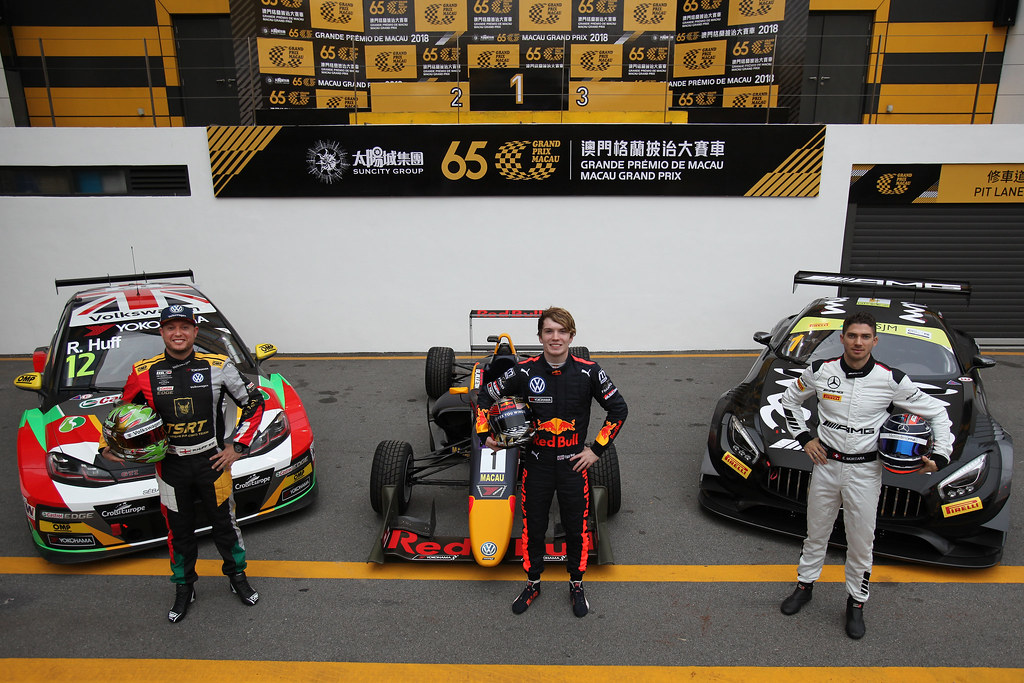 12 Rob HUFF, GBR, Sébastien Loeb Racing Volkswagen Golf GTI TCR , 1 Daniel TICKTUM, GBR, Motopark Academy Dallara-Volkswagen  and 1 Edoardo MORTARA, CHE, Mercedes-AMG Team GruppeM Racing Mercedes - AMG GT3  2017 Race winners with their 2018 race cars..65th Macau Grand Prix. 14-18.11.2018..Suncity Group Formula 3 Macau Grand Prix - FIA F3 World Cup.Macau Copyright Free Image for editorial use only