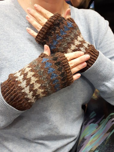 Linda finished her pair of Follow your Dreams fingerless mitts from the kit she got during the Windsor-Essex Yarn Crawl