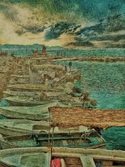 """Looking down the line"" - Boats, Corfu"