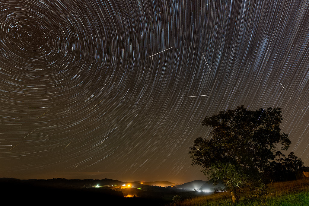 Geminids Among the Star Trails