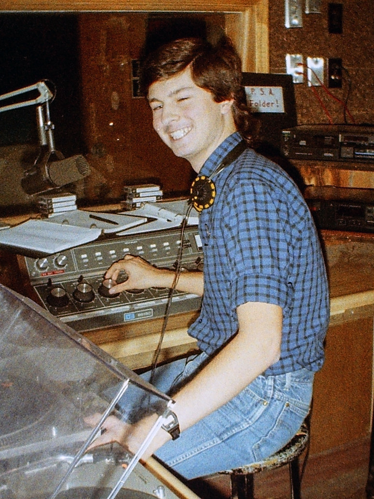 Me on the air at WMHD, 1987
