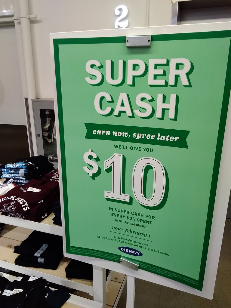 OLD NAVY: get $10 supercash for every $25 spent