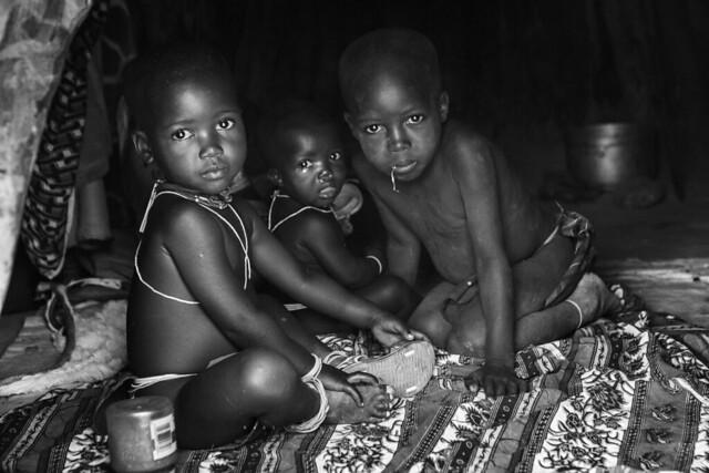 Mukubal children in a village near Virei. Angola.