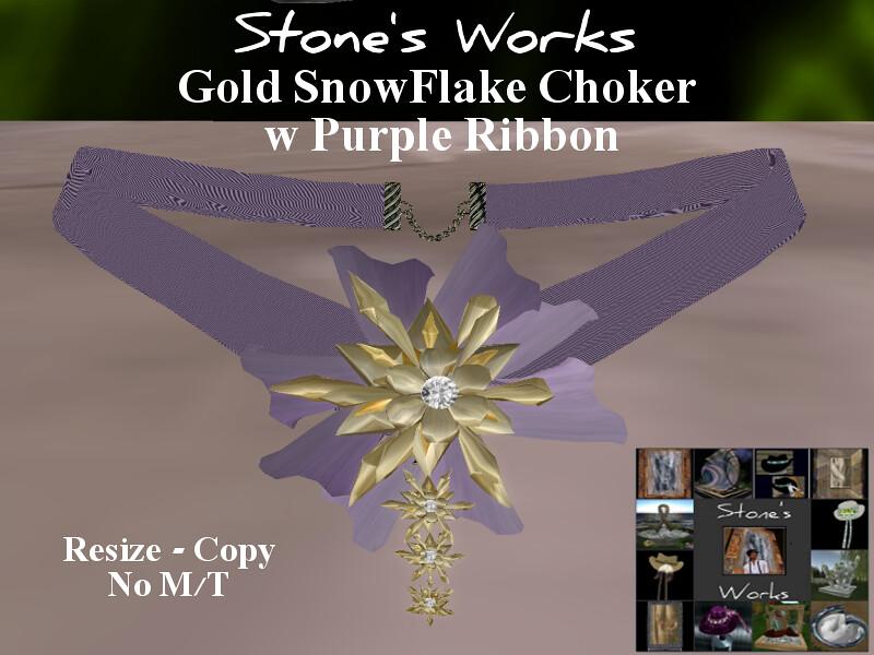 Snowflake Choker Purple Gold Stone's Works