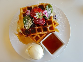 Strawberry Waffles at Ginger & Rose