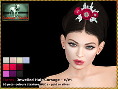 Bliensen - Flores - Jewelled Hair Corsage with Texture HUD 1