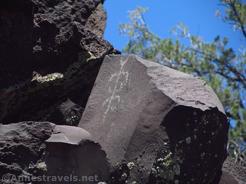 Petroglyph high up on the cliff at the Nampaweap Rock Art Site in Grand Canyon-Parashant National Monument, Arizona