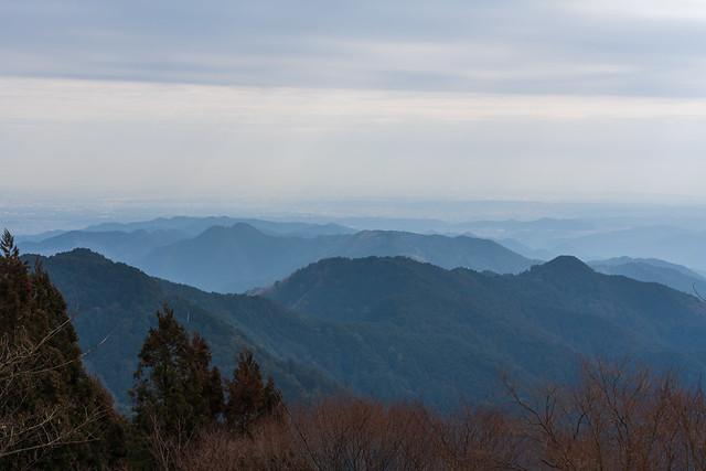 歩いてきた稜線@関八州見晴台