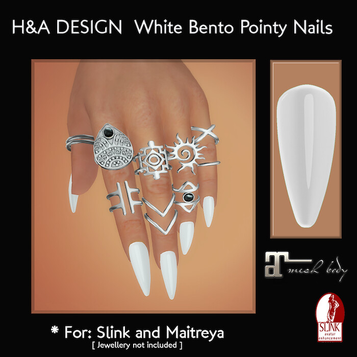 [H&A Designs] - White Bento Pointy Nails - TeleportHub.com Live!