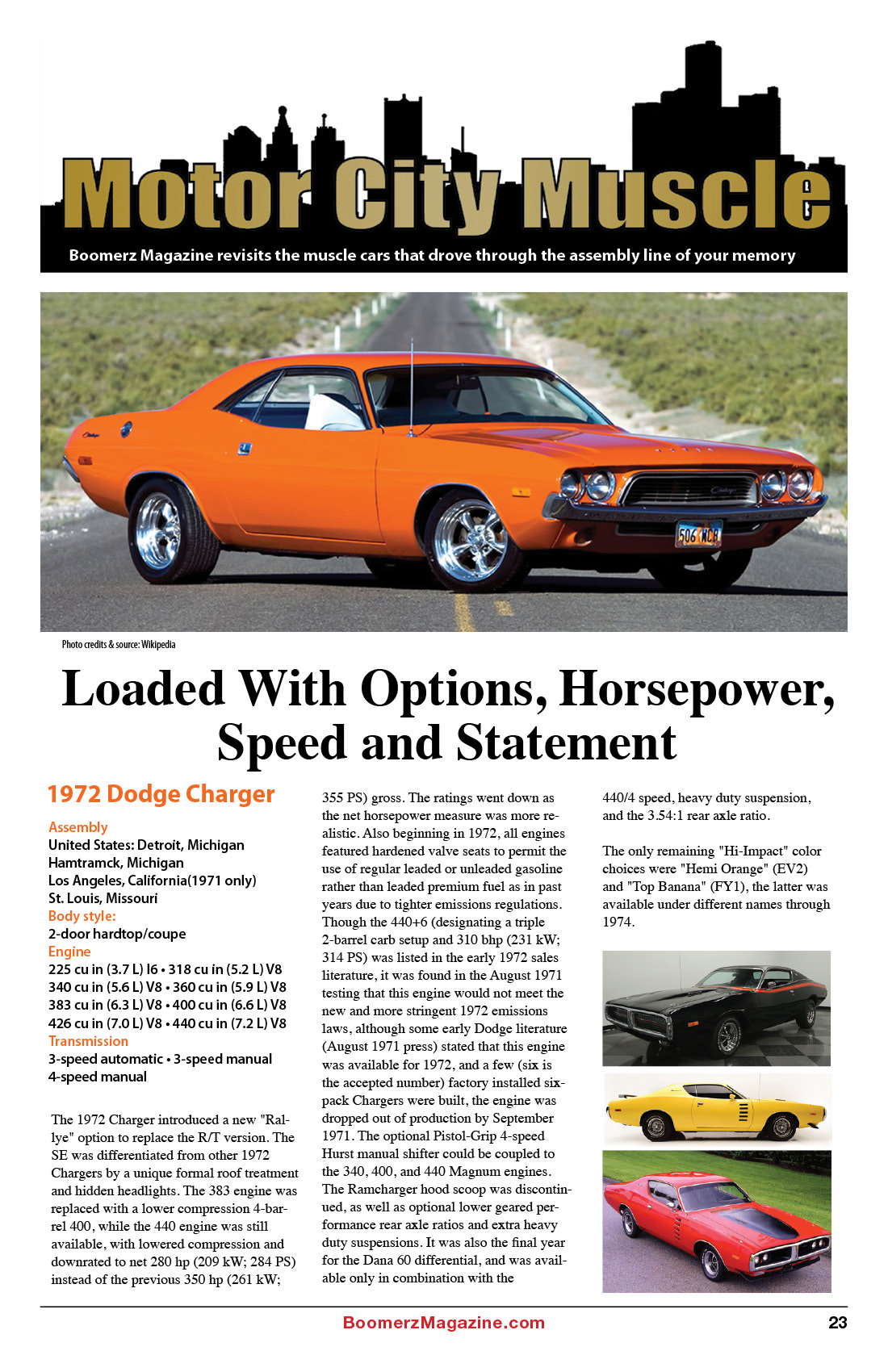 2018 October Boomerz Magazine Page 23 Motor-City-Muscle 1972-Dodge-Charger