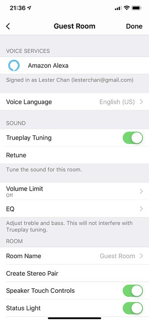 Sonos iOS App - Sonos One Settings