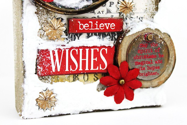 Meihsia Liu Simply Paper Crafts Mixed Media Canvas Warm Winter Wish Simon Says Stamp Tim Holtz Prima Flowers 5