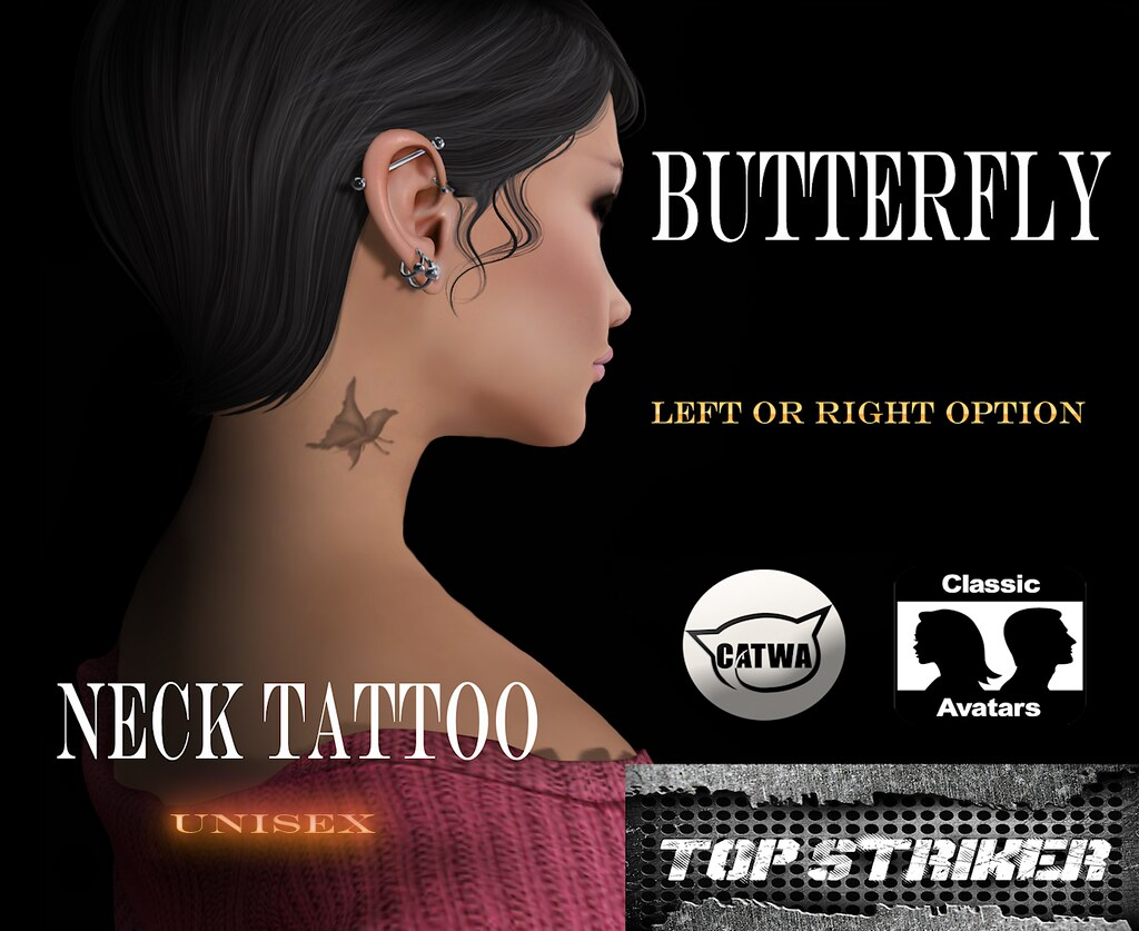 TOP STRIKER / NECK TAT BUTTERFLY