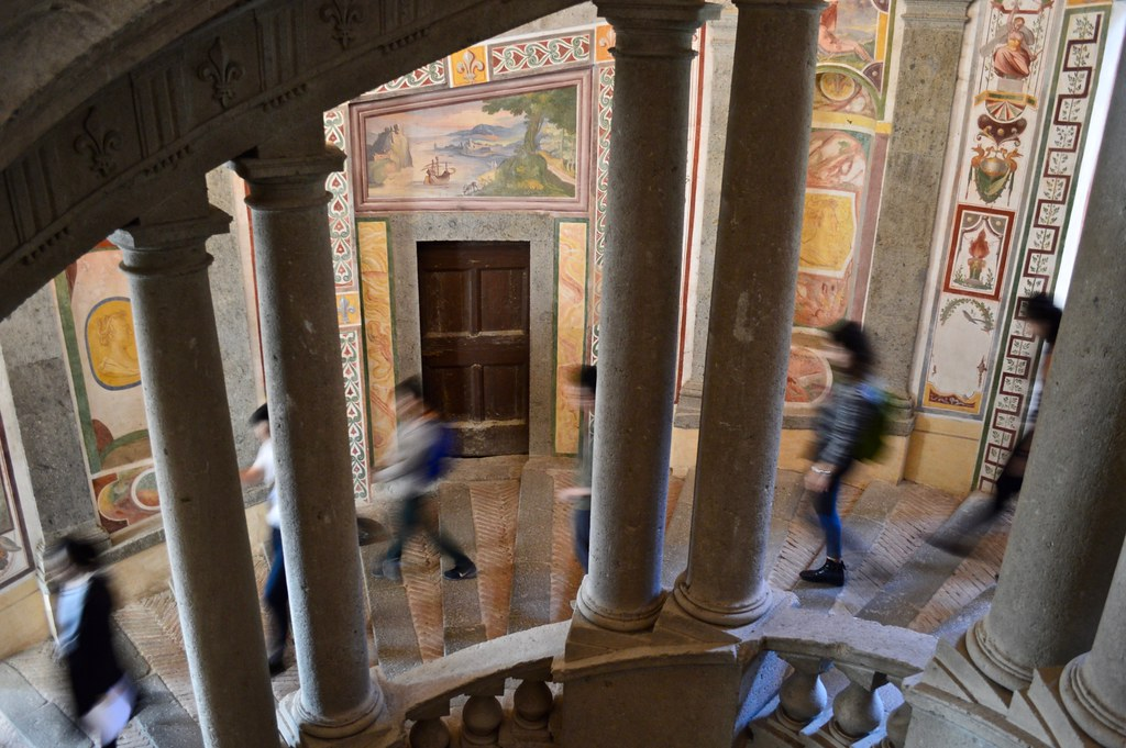Cornell in Rome students walk down the staircase in the Palazzo Farnese towards the basement.  photo / Alp Demiroglu (B.Arch. '21)