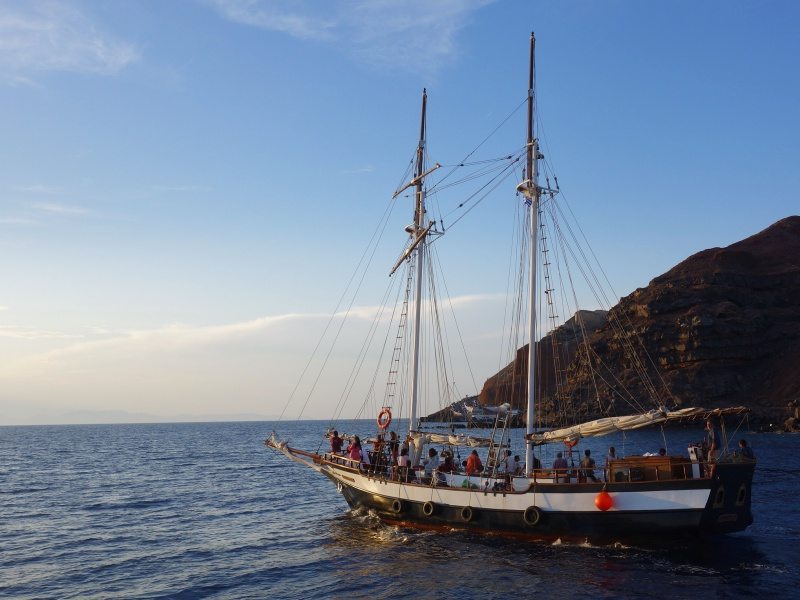 Sailing around Santorini