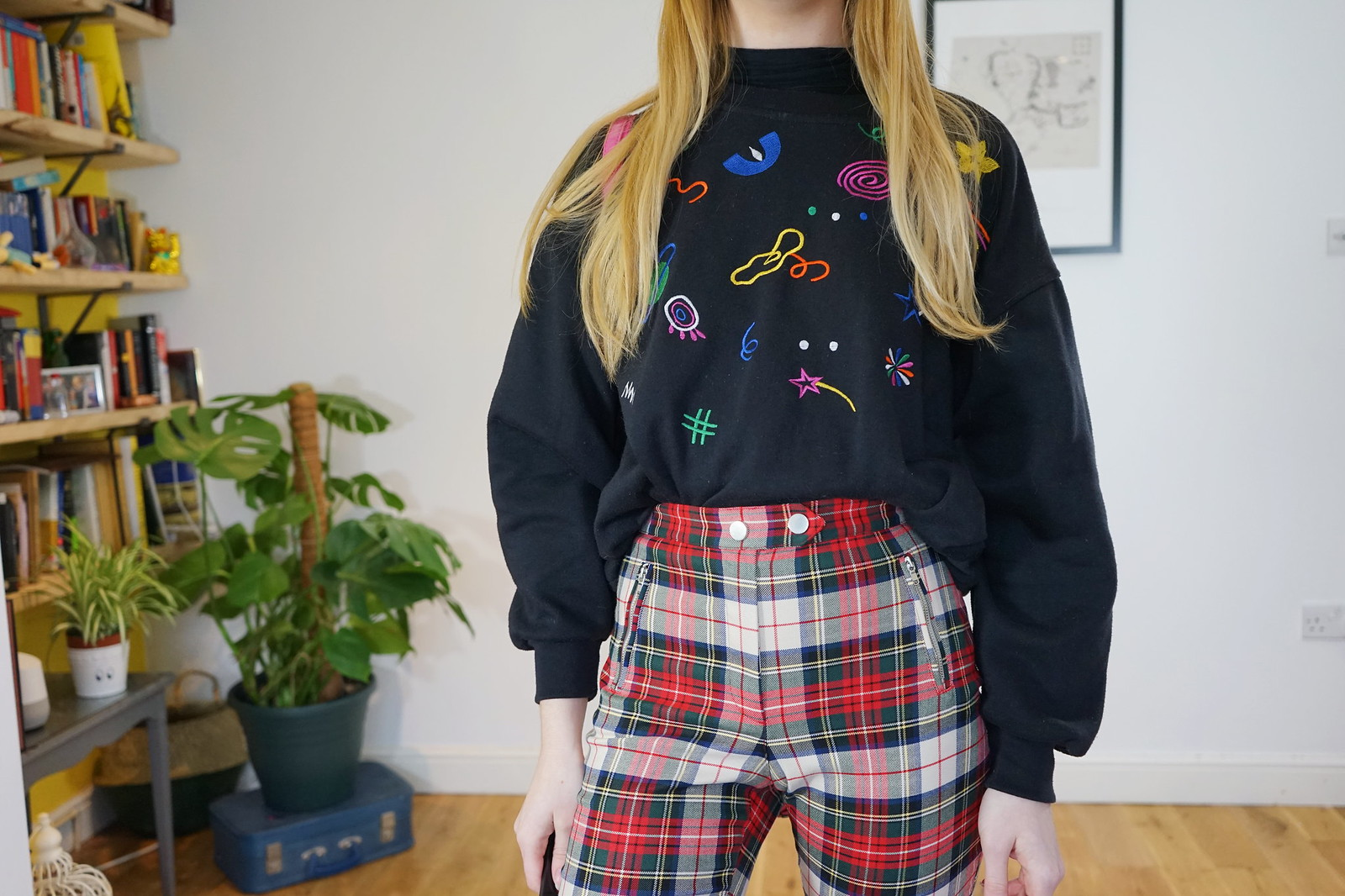 Tartan Trousers, Colourful knit and chunky boots