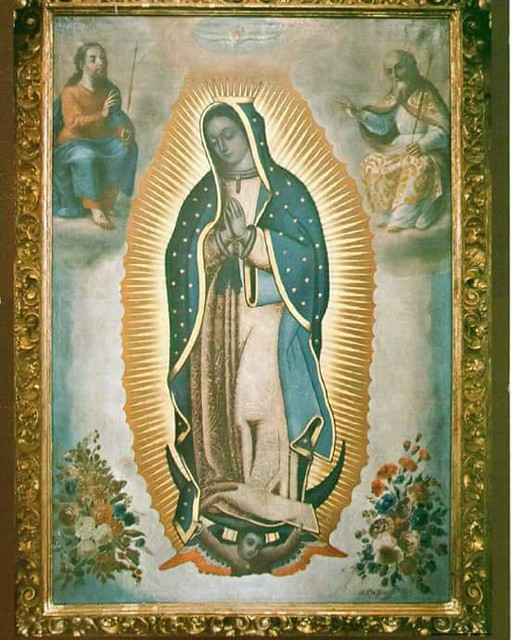 La Guadalupana con la Santísima Trinidad, Parroquia de Santa Inés, Zacatelco, Tlax.