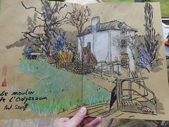 Moulin de l'Odyssaum (ancienne maison du saumon) de Pont-Scorff (Morbihan) sous une pluie battante avec les croqueurs quimperlois https://croqueursquimperlois.blogspot.com/2019/02/pont-scorff-sous-une-pluie-battante-le.html