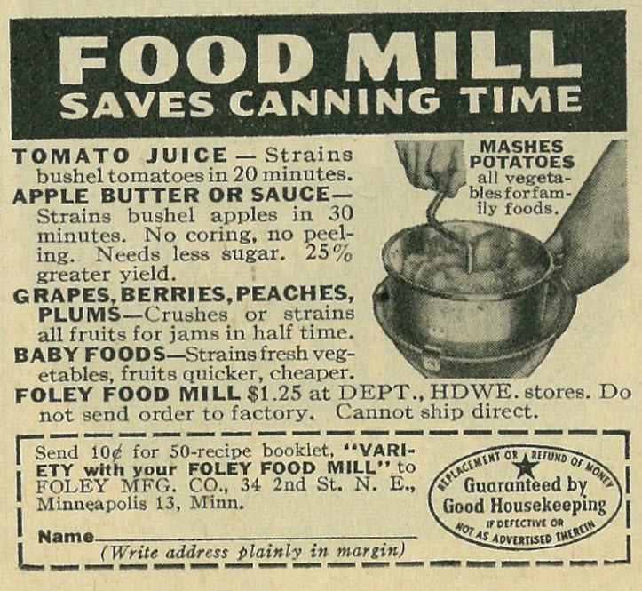 Foley Food Mill 1944