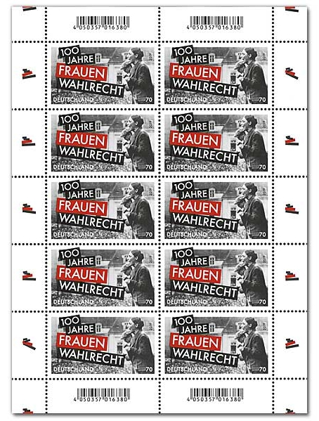 Germany - 100th Anniversary of Women's Suffrage (January 2, 2019) sheet of 10