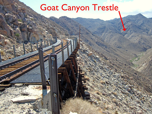 10.25.04 Carrizo Gorge Railway - First View of Goat Canyon Trestle noted