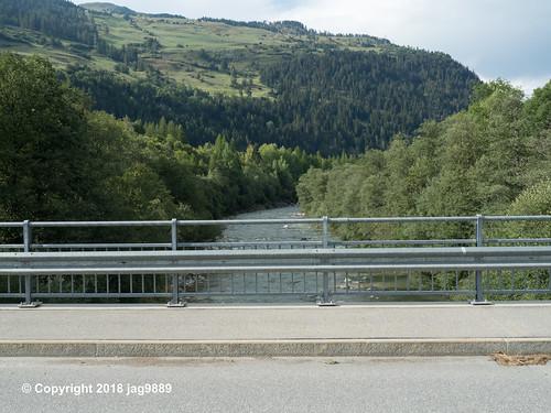 RHE155 Schamserbergstrasse Road Bridge over the Hinterrhein River, Zillis-Reischen, Canton of Graubünden, Switzerland