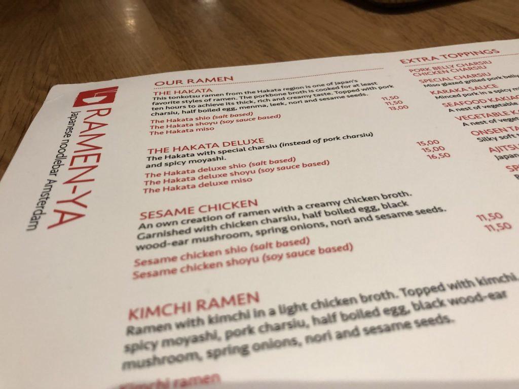 Het menu van Ramen-ya