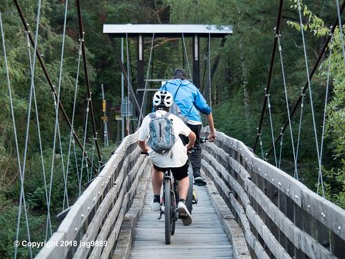 RHE171 Pedestrian Suspension Bridge over the Hinterrhein River, Sils im Domleschg - Thusis, Canton of Graubünden, Switzerland