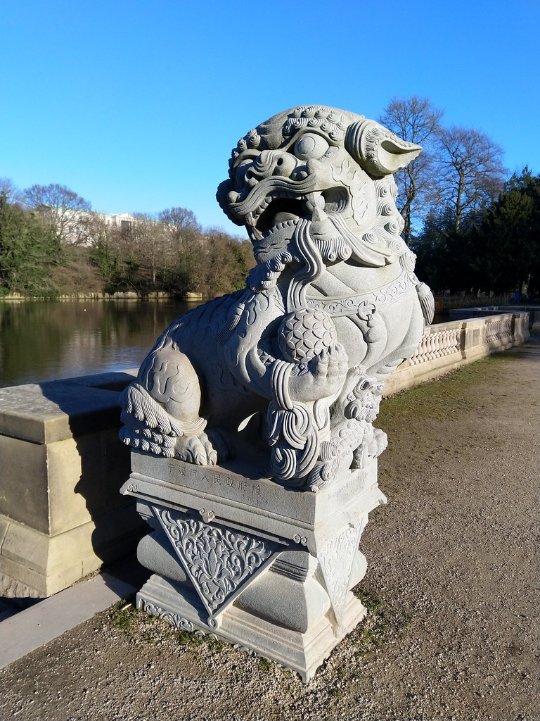 One of the stone lions received as a gift from the twin city of Ningbo in China, Nottingham University